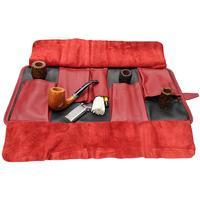 Pipe Accessories Claudio Albieri Italian Leather Roll Up Black/Red