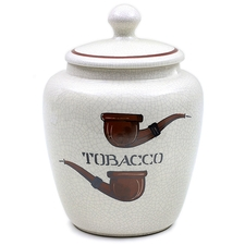 Pipe Accessories Savinelli Large Antique Ceramic Tobacco Jar with Pipes