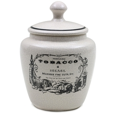 "Pipe Accessories Savinelli Small Antique Ceramic Tobacco Jar ""Tobacco & Segars"""
