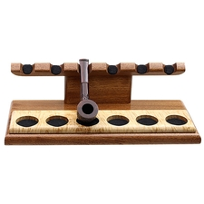 Pipe Accessories Neal Yarm Tilt Head 6 Pipe Stand Mahogany with Maple Burl Strip