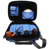 Pipe Accessories Claudio Albieri Italian Leather 4 Pipe Bag Black/Blue