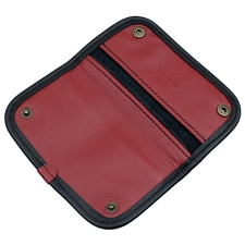 Pipe Accessories Claudio Albieri Italian Leather Elegance Tobacco Pouch Deluxe Black/Red