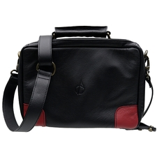 Pipe Accessories Claudio Albieri Italian Leather Elegance 4 Pipe Bag Black/Red