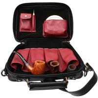 Pipe Accessories Claudio Albieri Italian Leather Elegance 4 Pipe Bag Black/Red