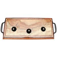 Pipe Accessories Neal Yarm 3 Pipe Stand Spalted Maple with Cast Iron Handles