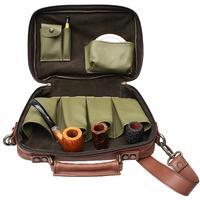 Pipe Accessories Claudio Albieri Italian Leather 4 Pipe Bag Olive/Chestnut