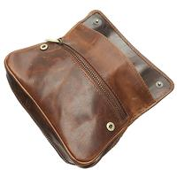 Pipe Accessories Chacom Leather 2 Pipe Case with Pouch Retro Brown