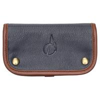 Pipe Accessories Claudio Albieri Italian Leather Tobacco Pouch Deluxe Dark Blue/Russet