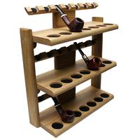 Stands & Pouches Neal Yarm 21 Pipe Three Tier Pipe Stand Oak