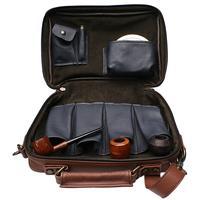 Pipe Accessories Claudio Albieri Italian Leather 4 Pipe Bag Dark Blue/Russet
