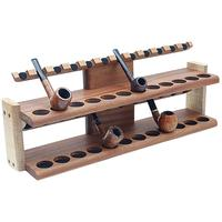 Pipe Accessories Neal Yarm 24 Pipe Two Tier Pipe Stand Mahogany and Stained Maple
