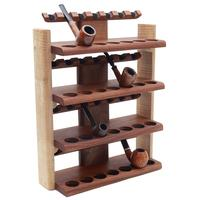 Pipe Accessories Neal Yarm 28 Pipe Four Tier Pipe Stand Mahogany and Stained Maple