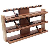 Pipe Accessories Neal Yarm 36 Pipe Three Tier Pipe Stand Mahogany and Stained Maple