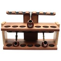 Pipe Accessories Neal Yarm 14 Pipe Two Tier Pipe Stand Mahogany and Stained Maple