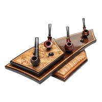 Pipe Accessories Neal Yarm Spalted Maple, Circassian Walnut 2 Tier 8 Pipe Stand