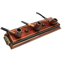 Pipe Accessories Neal Yarm Cocobolo Wood with Brass Handles 5 Pipe Stand