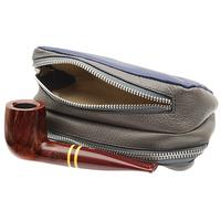 Pipe Accessories Savinelli Leather 2 Pipe and Tobacco Bag - Blue/Grey