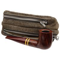 Pipe Accessories Savinelli Leather 2 Pipe and Tobacco Bag - Brown