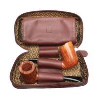 Pipe Accessories Castello Leather 2 Pipe Tobacco Pouch Brown
