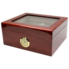 Cigar Accessories Savoy Mahogany Glass Top Small Humidor