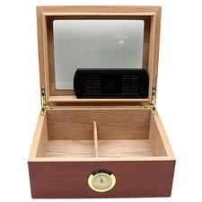Cigar Accessories Savoy Mahogany Glass Top Small Humidor