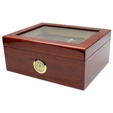 Cigar Accessories Savoy Mahogany Glass Top Medium Humidor