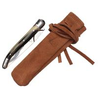 Cigar Accessories Laguiole Horn Tip with Mirror Finished Stainless Steel Cigar Cutter with Leather Sheath