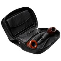 Smokingpipes Gear Smokingpipes.com Leather 3 Pipe Bag with Tobacco Pouch Black