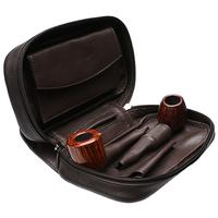 Smokingpipes Gear Smokingpipes.com Leather 3 Pipe Bag with Tobacco Pouch Dark Brown
