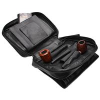 Pipe Accessories Smokingpipes Leather 4 Pipe Bag Black