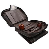 Pipe Accessories Smokingpipes Leather 4 Pipe Bag Dark Brown