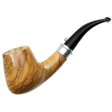 L'Anatra Smooth Olivewood Bent Brandy with Silver (Two Egg)