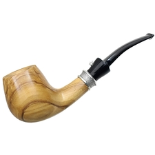 L'Anatra Smooth Olivewood Bent Billiard with Silver (One Egg)