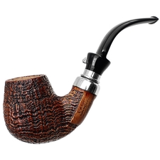 L'Anatra Sandblasted Bent Billiard with Silver