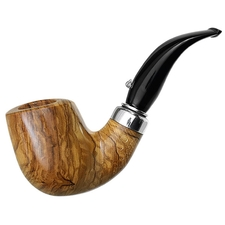 L'Anatra Smooth Olivewood Bent Billiard with Silver (Two Egg)