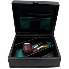 Peterson The Makers Series Sandblasted Amber Stem Silver Cap Spigot (B42) with Claudio Albieri Presentation Case and Tobacco Pouch (5/10) (P-Lip)