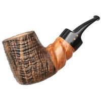 Radice Silk Cut Aero Reverse Calabash Bent Billiard with Spiral Carving and Tamper
