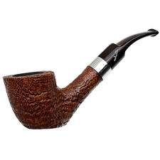 Savinelli Autograph Sandblasted Bent Dublin Sitter with Silver Band (6mm)