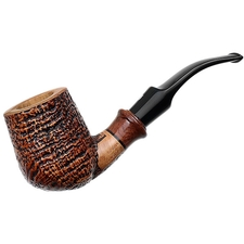 Ser Jacopo Sandblasted Bent Billiard with Briar (S2)