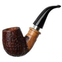 Ser Jacopo Jucunda Sandblasted Bent Billiard Delecta with Silver (S2)