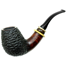 Tonni Nielsen Partially Rusticated Bent Brandy with Boxwood and Horn and Black Palm