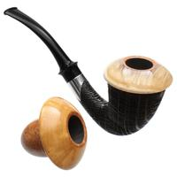 Tom Eltang Sandblasted Morta Calabash Set with Muskox Horn and Boxwood and Silver (Snail) (M)