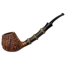 J. Alan Sandblasted Bent Brandy with Bamboo (1292)