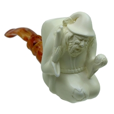 AKB Meerschaum Carved Kneeling Hermit (with Case)