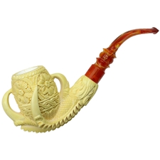 AKB Meerschaum Carved Claw Holding Floral Egg (with Case)