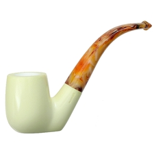AKB Meerschaum Smooth Bent Billiard Sitter (with Case)