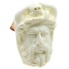 AKB Meerschaum Carved Bearded Man with Skull and Horns on Head (with Case)