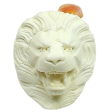 AKB Meerschaum Carved Lion Roaring (with Case)