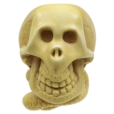 AKB Meerschaum Carved Happy Skull with Snake Bow Tie (with Case)