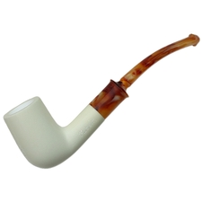 AKB Meerschaum Spot Carved Bent Billiard (with Case)
